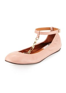 Lanvin Scrunched Chain Leather Ballerina Flat, Nude