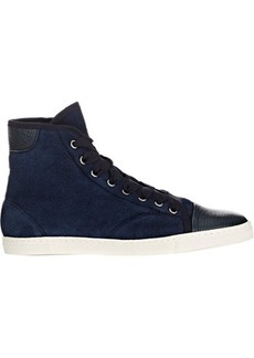 Lanvin Shearling-Lined High-Top Sneakers
