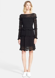 Lanvin Sheer Contrast Ruffle Knit Tank Dress