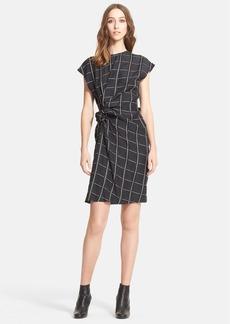 Lanvin Side Knot Windowpane Woven Dress
