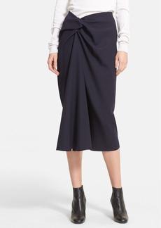 Lanvin Side Knot Wool Midi Skirt