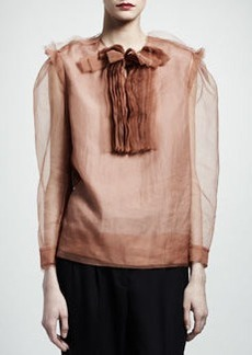 Lanvin Silk Organza Bib Blouse, Beige