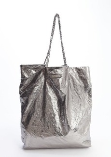 Lanvin silver laminated leather tote bag
