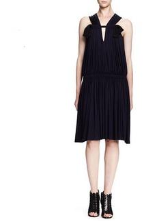 Lanvin Sleeveless Ruched Drop-Waist Dress, Ink