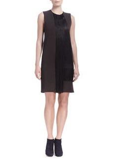Lanvin Sleeveless Waterfall Fringe Shift Dress, Dark Brown