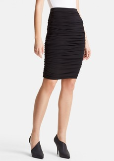 Lanvin Slim Ruched Stretch Jersey Skirt