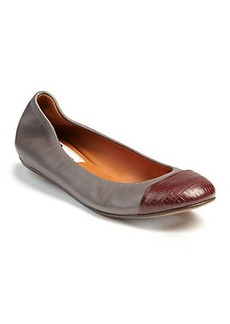 Lanvin Snake-Embossed Leather & Leather Ballet Flats