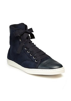 Lanvin Snake-Embossed Leather & Suede Sneakers