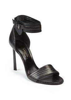 Lanvin Snake-Embossed Leather Sandals