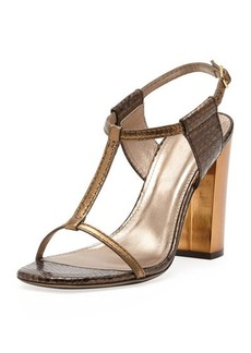 Lanvin Snake-Print T-Strap Sandal, Gold