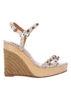 Lanvin Snake-Stamped Platform-Wedge Sandals