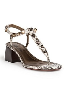 Lanvin Snakeskin Block-Heeled Sandals