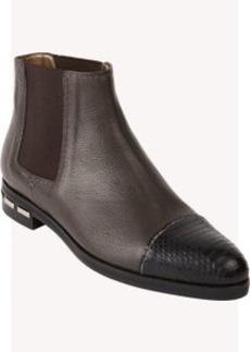 Lanvin Snakeskin Cap-Toe Chelsea Boots