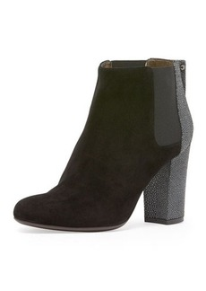 Lanvin Stingray-Embossed Suede Ankle Bootie, Black