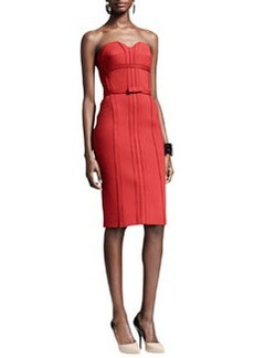 Lanvin Strapless Bustier Dress with Bow, Rouge