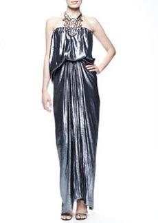Lanvin Strapless Metallic Blouson Gown, Cloud