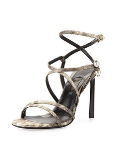 Lanvin Strappy Sandal with Pierced-Pearl Detail  Strappy Sandal with Pierced-Pearl Detail