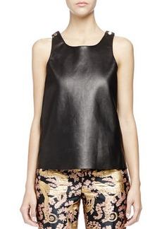 Lanvin Studded Leather Tank Top, Black