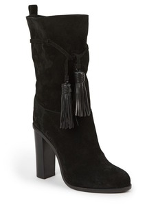 Lanvin Suede & Leather Tasseled Mid-Calf Boots