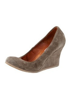 Lanvin Suede Ballerina Wedge Pump, Gray