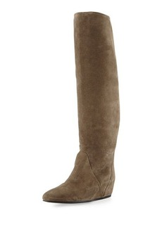 Lanvin Suede Hidden Wedge Knee Boot, Gray