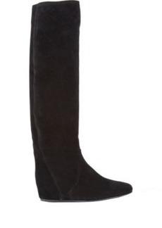 Lanvin Suede Hidden-Wedge Knee Boots