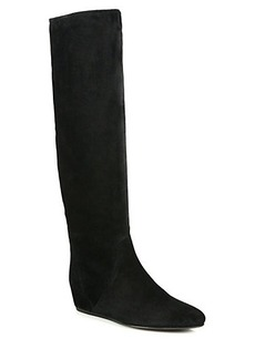 Lanvin Suede Knee-High Hidden Wedge Boots