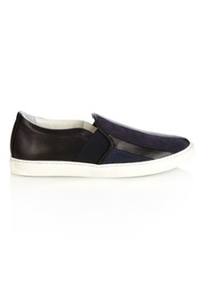 Lanvin Suede-panelled leather trainers
