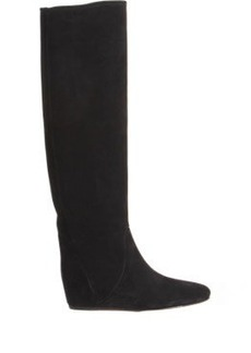 Lanvin Suede Pull-On Wedge Knee Boot