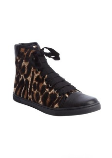 Lanvin tan and black leopard print calf hair high tops