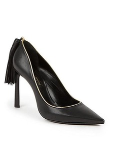 Lanvin Tasseled Leather Point-Toe Pumps