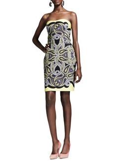 Lanvin Techno Paisley Mosaic Dress, Yellow