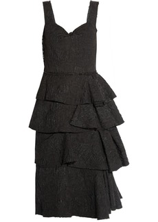 Lanvin Tiered jacquard dress