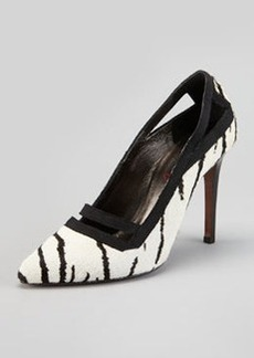 Lanvin Tiger-Print Calf Hair Pump, White/Black