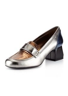Lanvin Tricolor Metallic Loafer, Silver