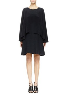 Lanvin Two-Tier Washed Twill Long-Sleeve Dress