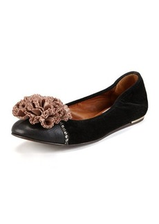 Lanvin Velvet Cap-Toe Flower Ballerina Flat