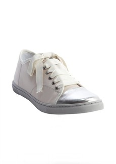 Lanvin white and silver leather metallic accent lace up sneakers