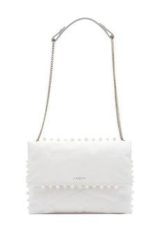 Lanvin white lambskin medium 'Sugar' pearl trim shoulder bag