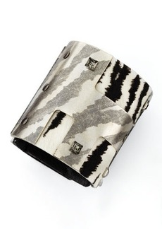 Lanvin White Tiger-Print Cuff