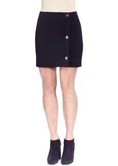 Lanvin Wool Industrial Side-Snap Skirt, Blue Marine