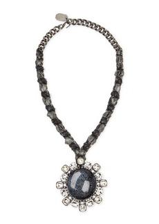 Lanvin Woven Chain Cabochon & Crystal Pendant Necklace