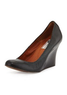 Leather Ballerina Wedge Pump, Black   Leather Ballerina Wedge Pump, Black
