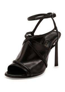 Leather Crisscross Glove Sandal, Black   Leather Crisscross Glove Sandal, Black