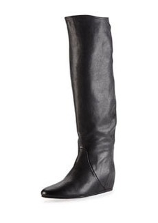 Leather Hidden Wedge Knee Boot, Black   Leather Hidden Wedge Knee Boot, Black