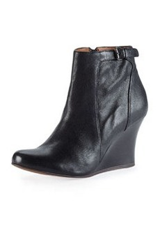 Leather Wedge Ankle Boot, Black   Leather Wedge Ankle Boot, Black