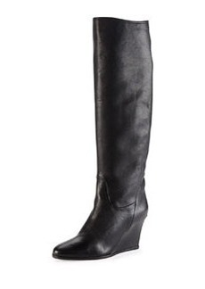 Leather Wedge Knee Boot, Black   Leather Wedge Knee Boot, Black