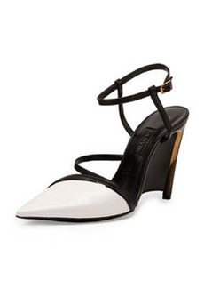 Leather Wedge Pump, White/Black   Leather Wedge Pump, White/Black
