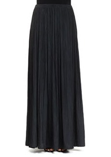 Long Pleated Washed Satin Skirt   Long Pleated Washed Satin Skirt