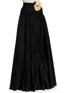 Long Tiered A-Line Skirt with Rosettes, Black   Long Tiered A-Line Skirt with Rosettes, Black